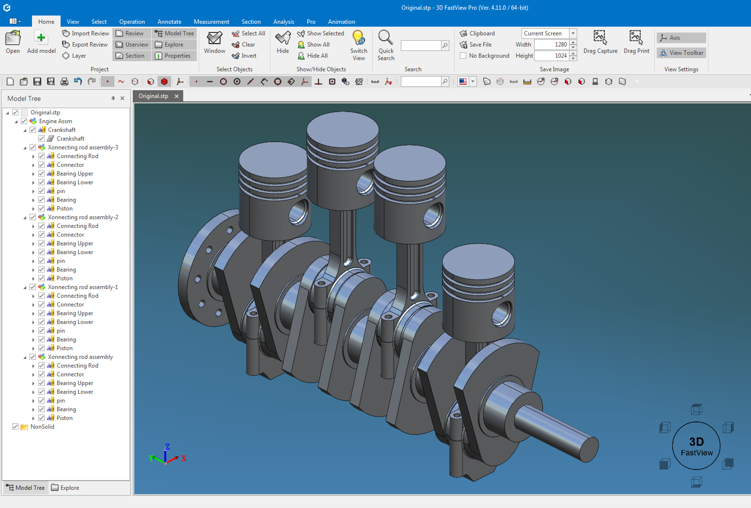 3D FastView can assemble markup translate and compress large 3D CAD files. easy Screen Shot